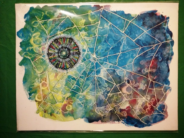 Spiderweb and mandala watercolor by Sue Ross
